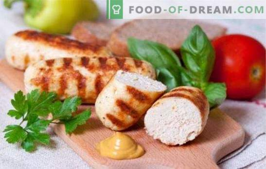 Delicate and juicy sausages made from minced chicken. Simple recipes for making homemade sausages from minced chicken