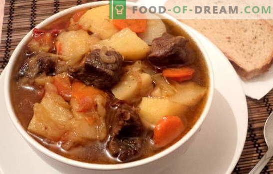 Stew with potatoes and meat is satisfying and healthy. Various recipes for cooking stews with potatoes and meat: simple and complex