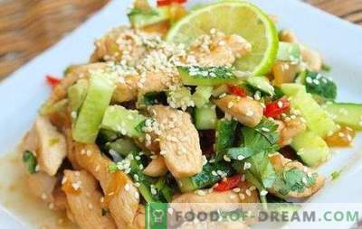Salad with chicken breast and cucumbers - an appetizer, which is not ashamed to treat. The best recipes for salads with chicken breast and cucumber