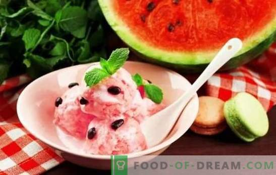 Watermelon ice cream - summer coolness! The best recipes for watermelon ice cream with cream, milk, yogurt, melon, bananas