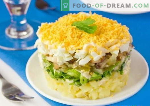 Layered salad with mushrooms - a selection of the best recipes. How to properly and tasty cook layered salad with mushrooms.
