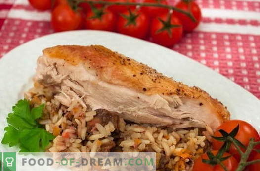 Chicken stuffed with rice - the best recipes. How to properly and tasty cook stuffed rice chicken.