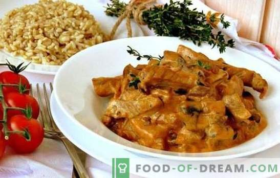 Like in a restaurant - pork beef stroganoff with gravy. Homemade pork stroganoff with sauces according to different recipes