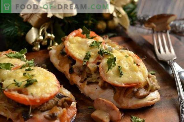 Chicken breast chops with cheese and tomatoes