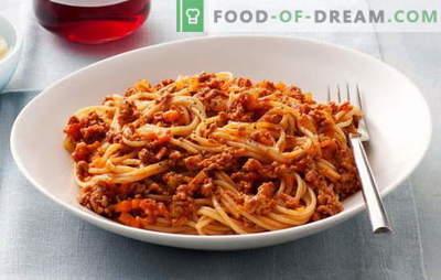 Spagetid hakklihaga ja spagetid hakkliha ja tomatipastaga - lemmik! Parimad retseptid hakkliha spagettidele: on võimatu läbida