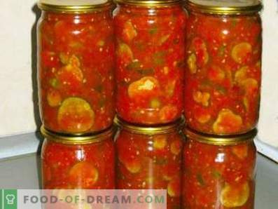Cucumbers in tomato sauce for the winter