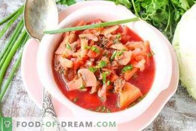 Borsch with mushrooms
